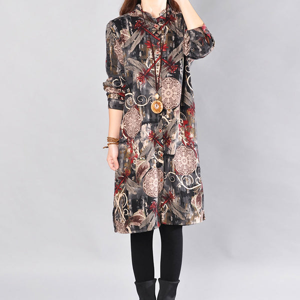 Printing Cotton Women Coffee Long Shirt