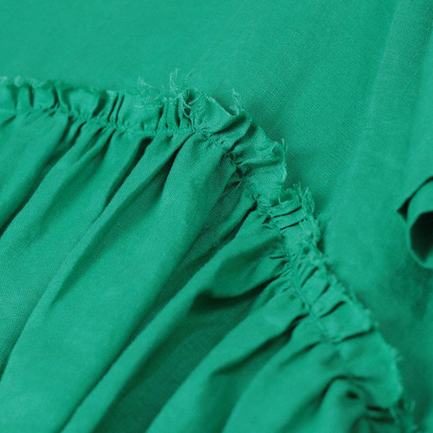 Women Splicing Pleated Short Sleeves Loose Women Green Shirt - Buykud