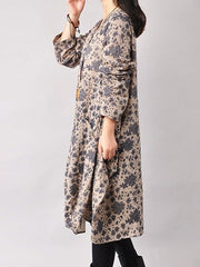 Print Cotton Long Sleeve Dress - Buykud