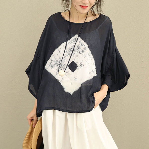 Literature Mulberry Silk Long Sleeves Women Black Shirt - Buykud