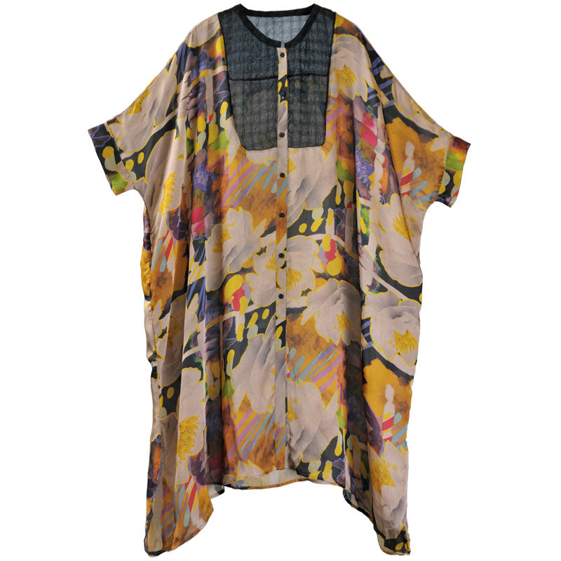 Loose Single Breasted Three Quarter Sleeve Printed Dress - Buykud