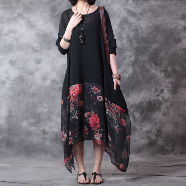 Irregular Women Chiffon Linen Loose Floral Casual Splicing Dress - Buykud