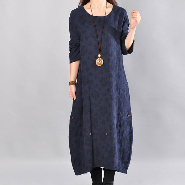Spring Round Neck Printing Loose Navy Blue Dress