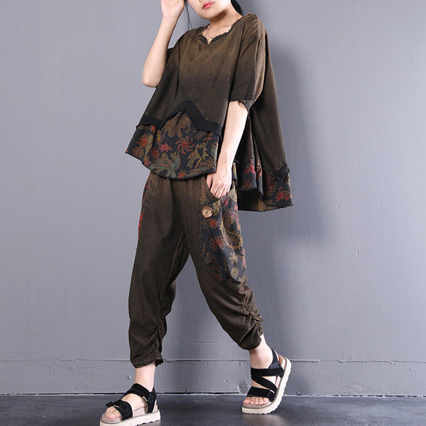 Retro Women Summer Casual Loose Floral Suits