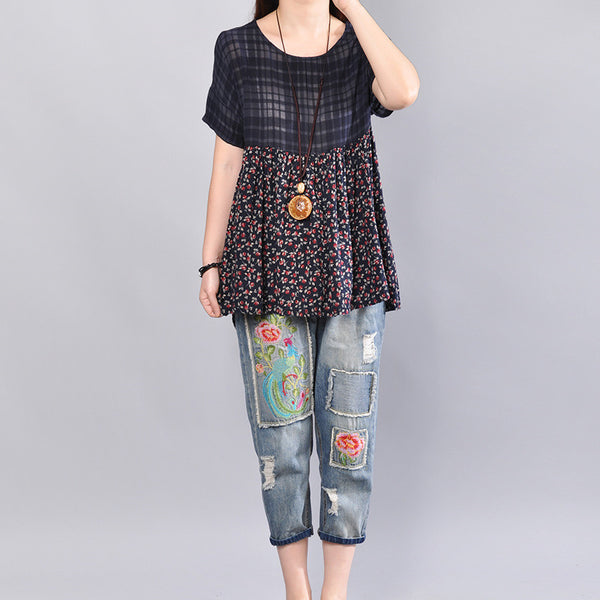 Loose Cotton Floral Lattice Short Sleeve Women Blue Shirt - Buykud