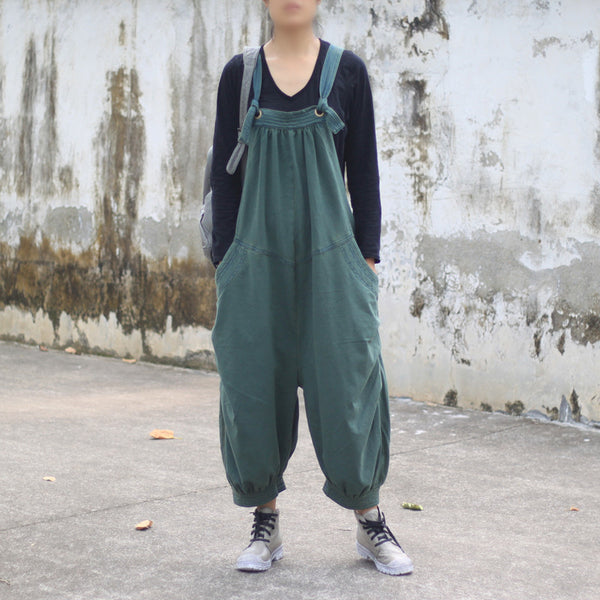 Autumn Casual Loose Cotton Jumpsuits - Buykud