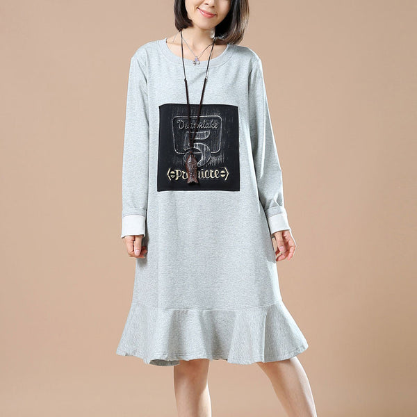 Gray Printed Round Neck Dress
