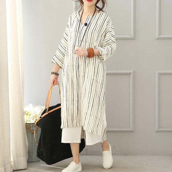 Linen Loose V Neck Stripe Long Shirt dress