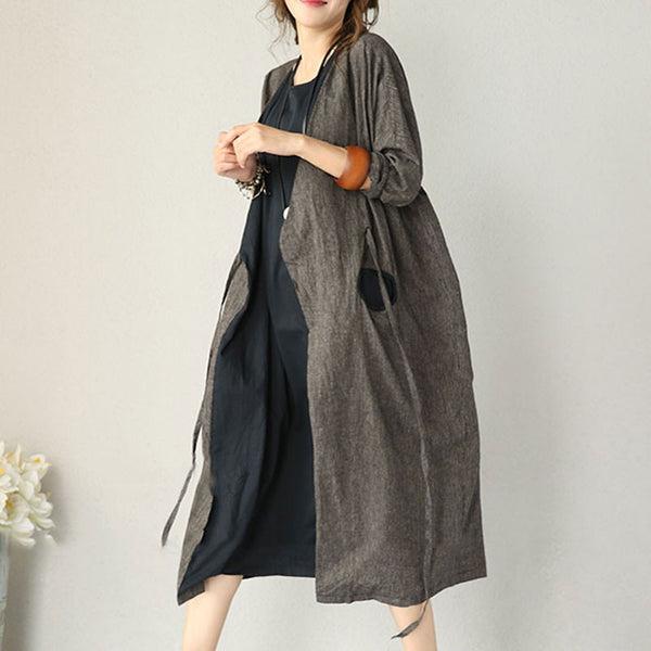 Autumn Cotton Linen Dress Long Sleeve