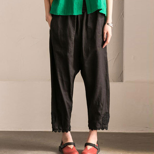 Splicing HollowLoose Casual Linen Cotton Harem Black Pants - Buykud