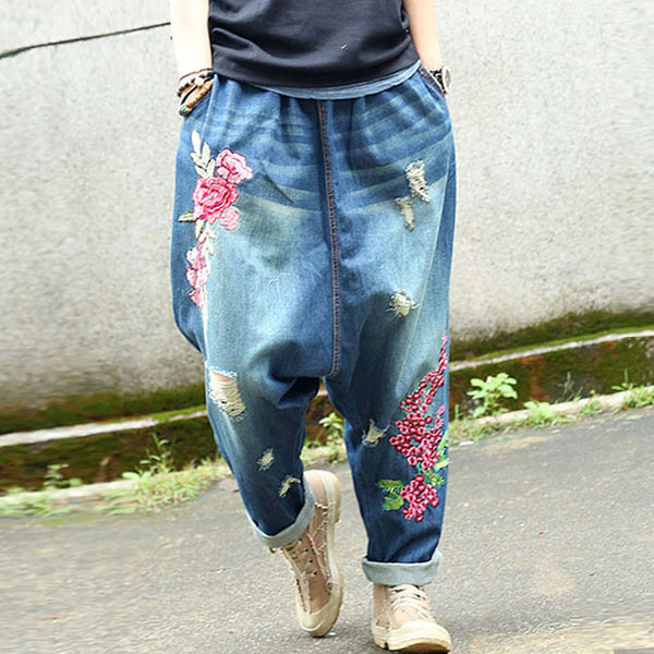 Causal Women Cotton Floral Harem Pants - Buykud