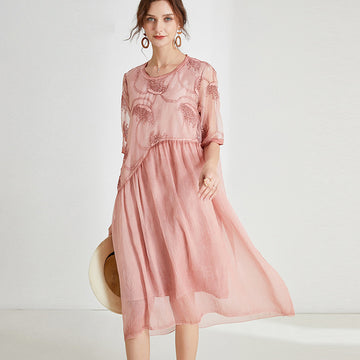Chiffon Embroidered Patchwork Summer Loose Dress