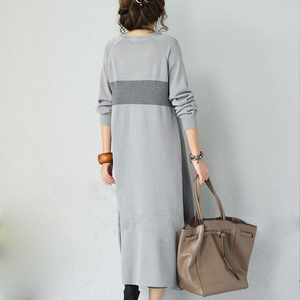 Grey Striped Woolen Knit Dress