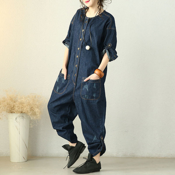 Spring Casual Loose Denim Jumpsuit
