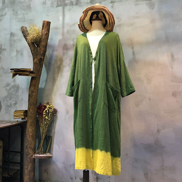 Women Casual Loose Pocket Green Outerwear Coat