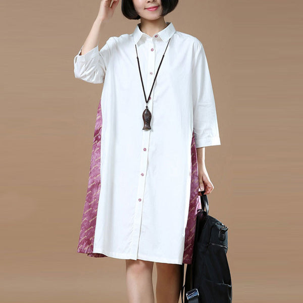 Loose Women Casual Cotton Pink Shirt Dress - Buykud