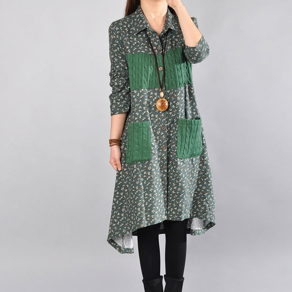 Spring Splicing Floral Green Long Shirt