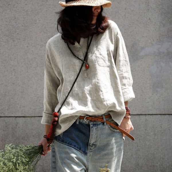 Spring Long Sleeve Casual Loose Pullover Beige Shirt - Buykud