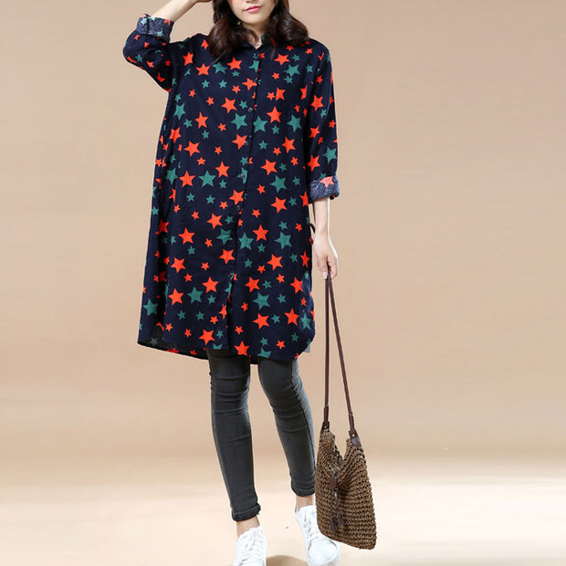 Spring Long Sleeves Little Stars Long Shirt - Buykud