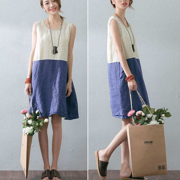 Summer Splicing Women Loose Casual Linen Sleeveless Blue Dress - Buykud