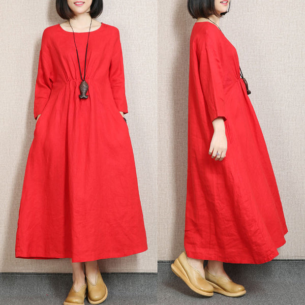 High Waist Three Quarter Sleeve Linen Red Dress