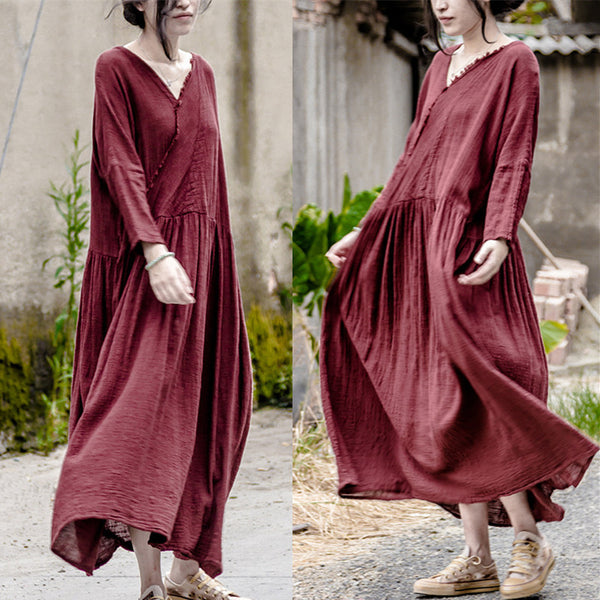 Autumn Cotton Linen Loose Long Sleeve Dress