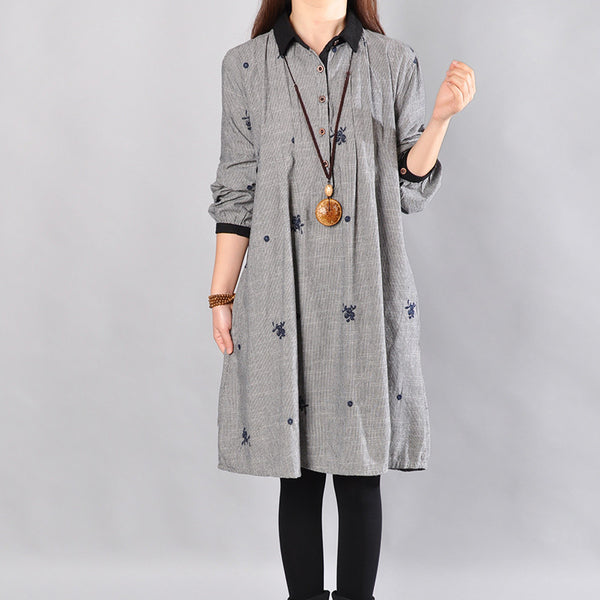 Spring Printing Cotton Gray Dress - Buykud