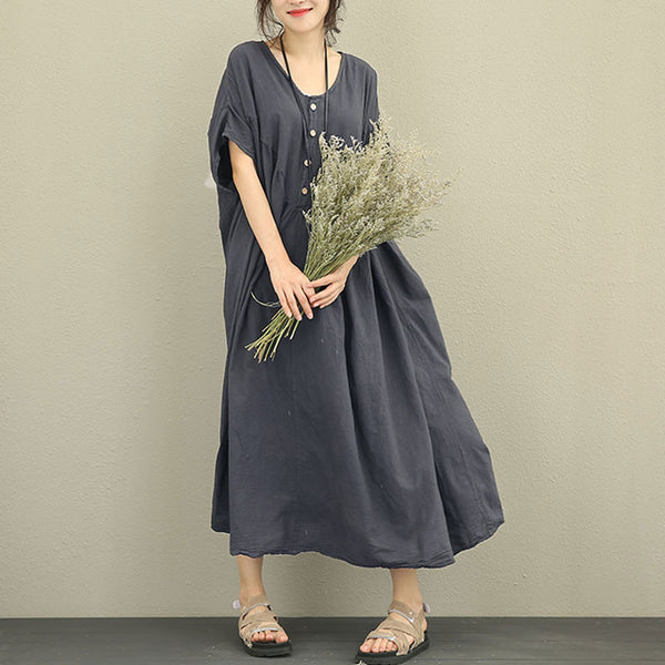 Women Retro Loose Lantern Sleeve Gray Dress