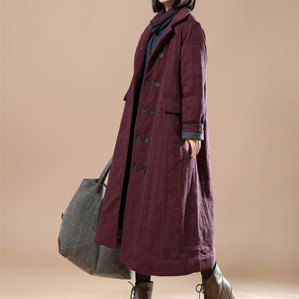 Women casual loose winter cotton long coat