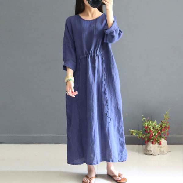 Women Linen Literature Retro Three Quarter Sleeve Navy Blue Dress