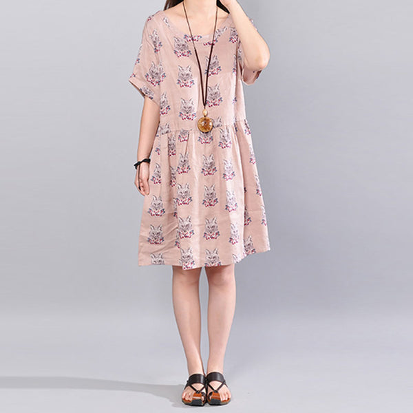 Stylish Printing Wolf Image Short Sleeve Back Strap Women Beige Dress - Buykud
