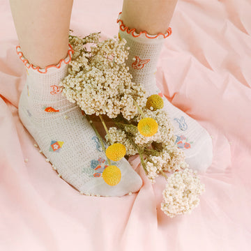 Embroidered Women Cotton Summer Socks