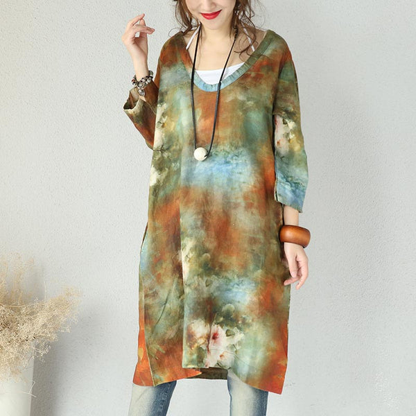 Retro V Neck Abstract Printing Loose Green Dress