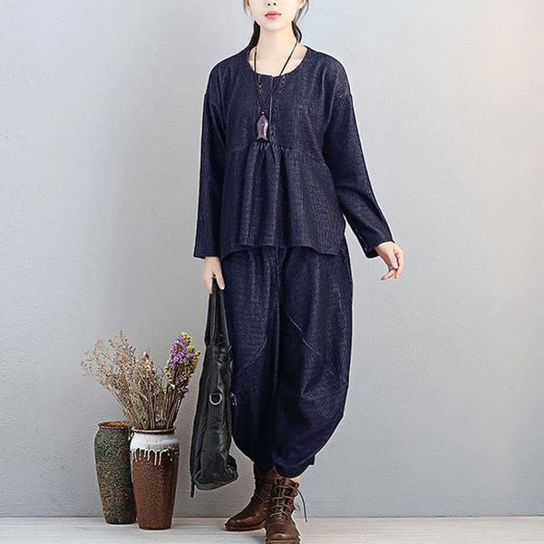 Fashionable Autumn Dark Blue Two Pieces Women Long Sleeve Shirt Loose Pants - Buykud