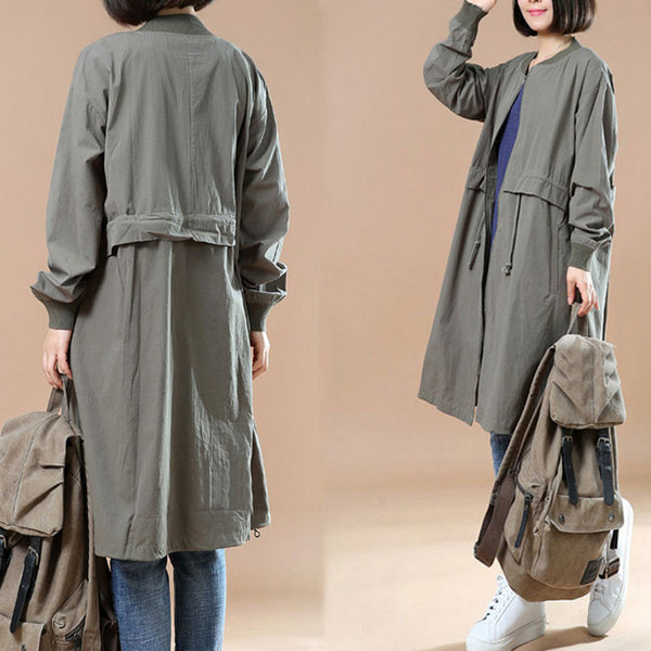 Ladies Spring Casual Large Size Coat Drawstring Windbreaker