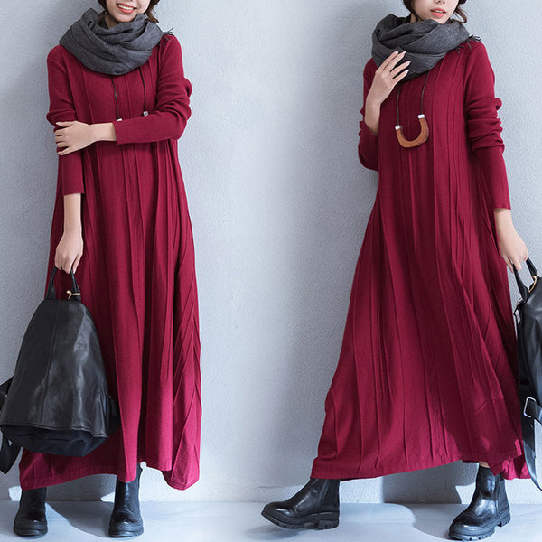 Winter And Autumn Loose Wine Red Long Dress
