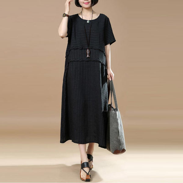 Summer Splicing Lattice Women Black Dress - Buykud