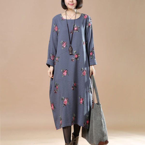 Spring Linen Round Neck Floral Embroidered Gray Blue Dress