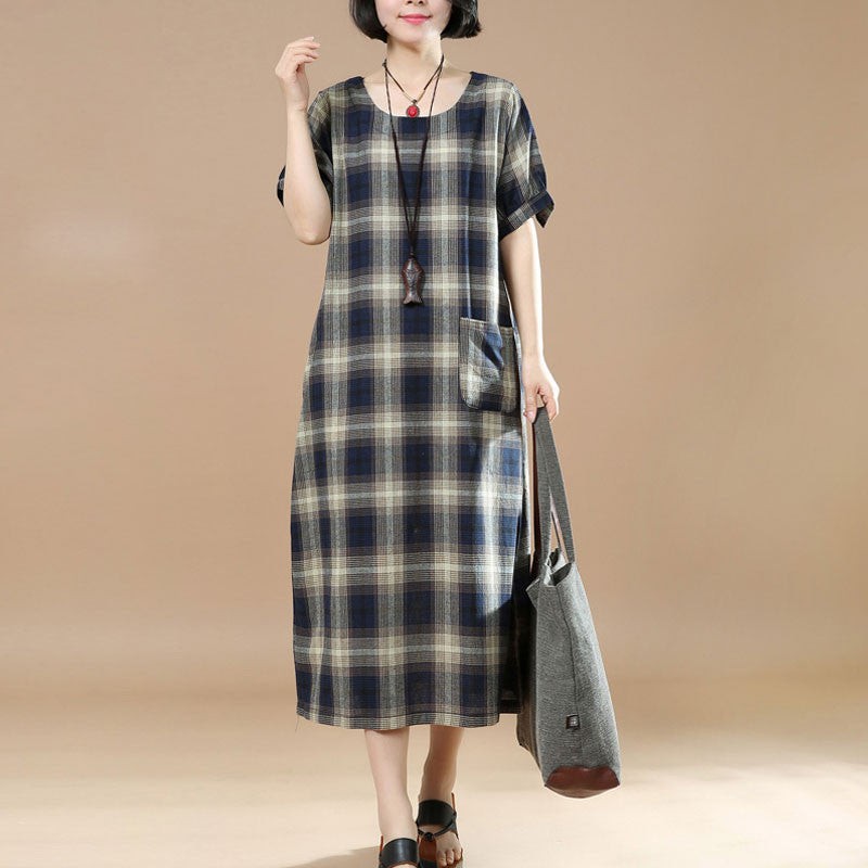 Round Neck Lattice Women Short Sleeve Women Dress - Buykud