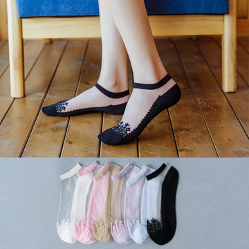 Transparent Women Summer Patchwork Socks