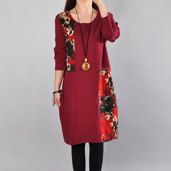 Printing Cotton Round Neck Women Red Dress