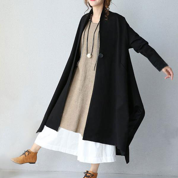 Black Stitching Loose Casual Coat - Buykud
