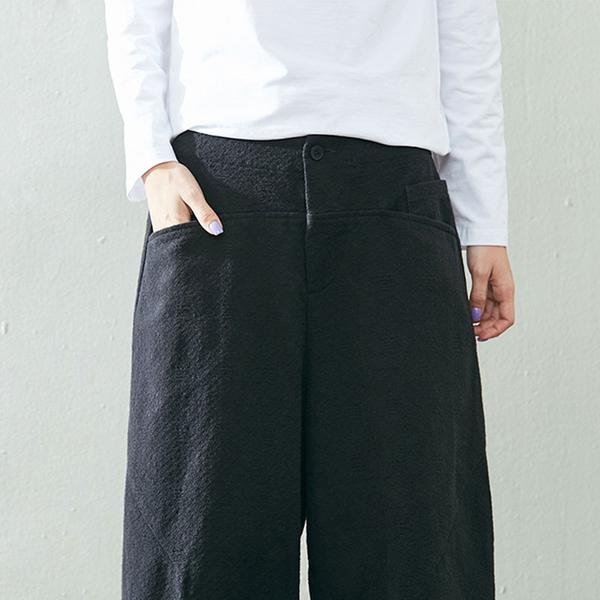 Keep Warm Winter Casual Linen Thickening Loose Black Pants - Buykud