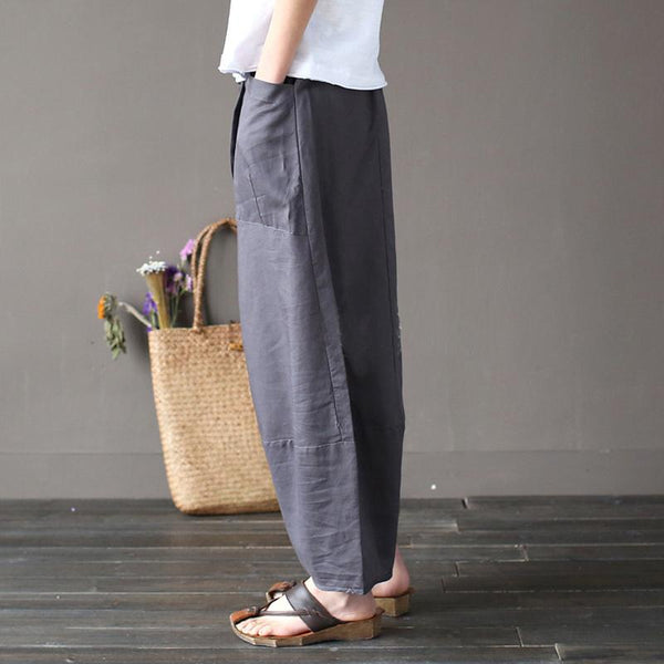 Cotton Linen Elastic Waist Pants With Pockets