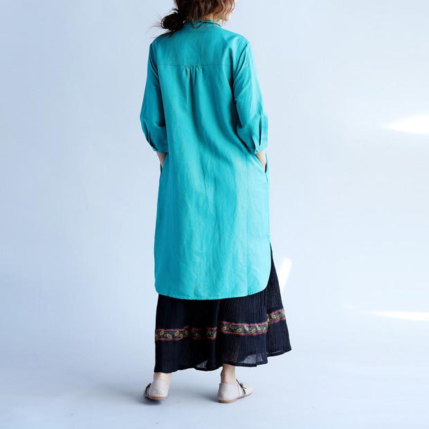 Embroidered Women Ethnic Green Shirt Dress