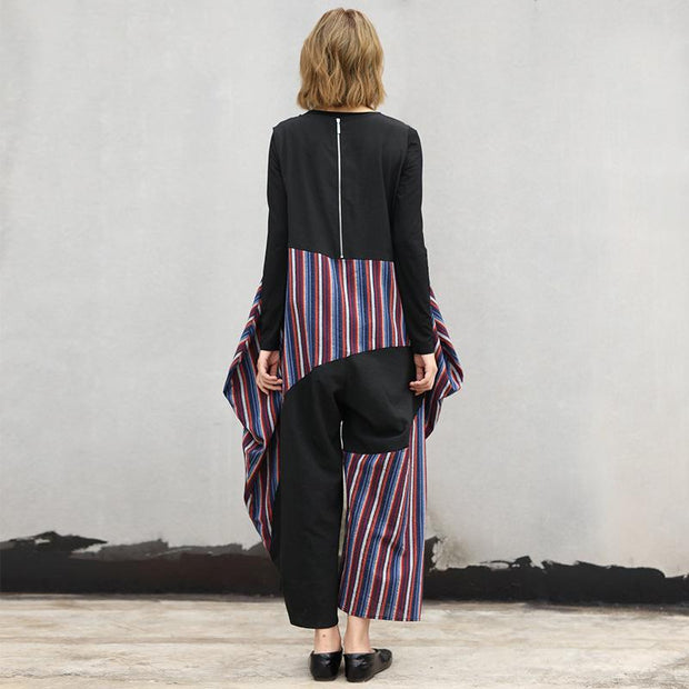 Baggy Women Jumpsuit Patchwork Autumn Stripe Bottom