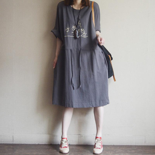 Casual Loose Cotton Embroidery Short Sleeve Dress