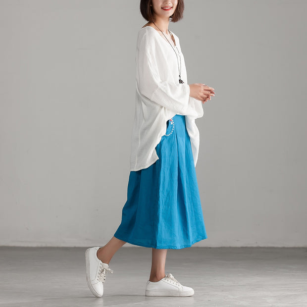 Embroidery Blue Casual Cotton Linen Calf Length Skirt