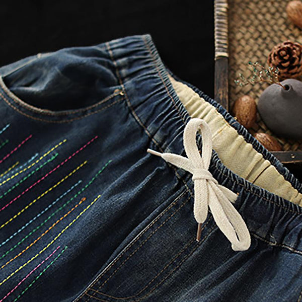Colorful Thread Vintage Women Harem Jeans