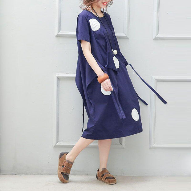 Cotton Linen Loose Women Irregular Printing Dot Lacing Blue Dress